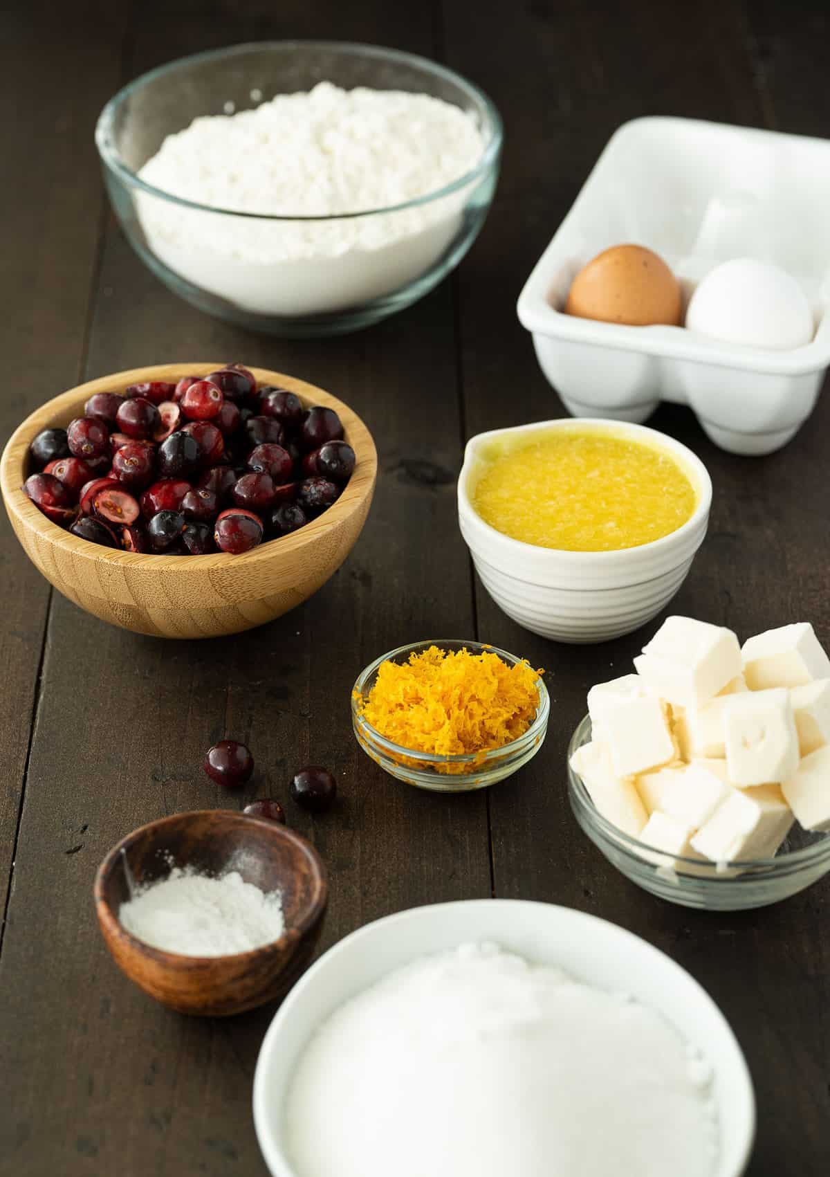 ingredients for cranberry orange bread
