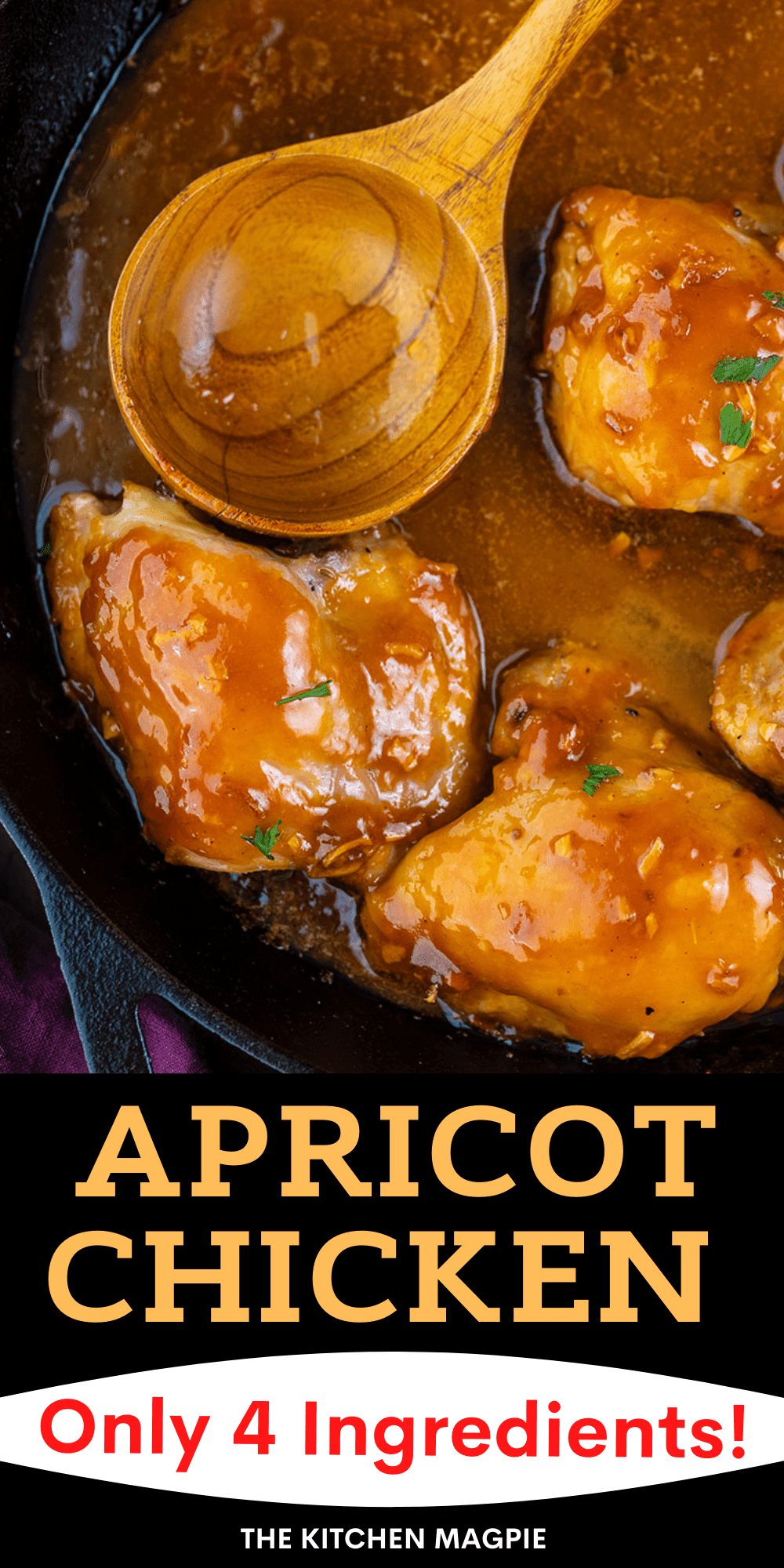 This classic apricot chicken is only 4 ingredients - apricot jam, onion soup mix, chicken, and French dressing. Sweet, sticky, and incredibly retro, you can't help but be won over by this simple apricot chicken recipe!