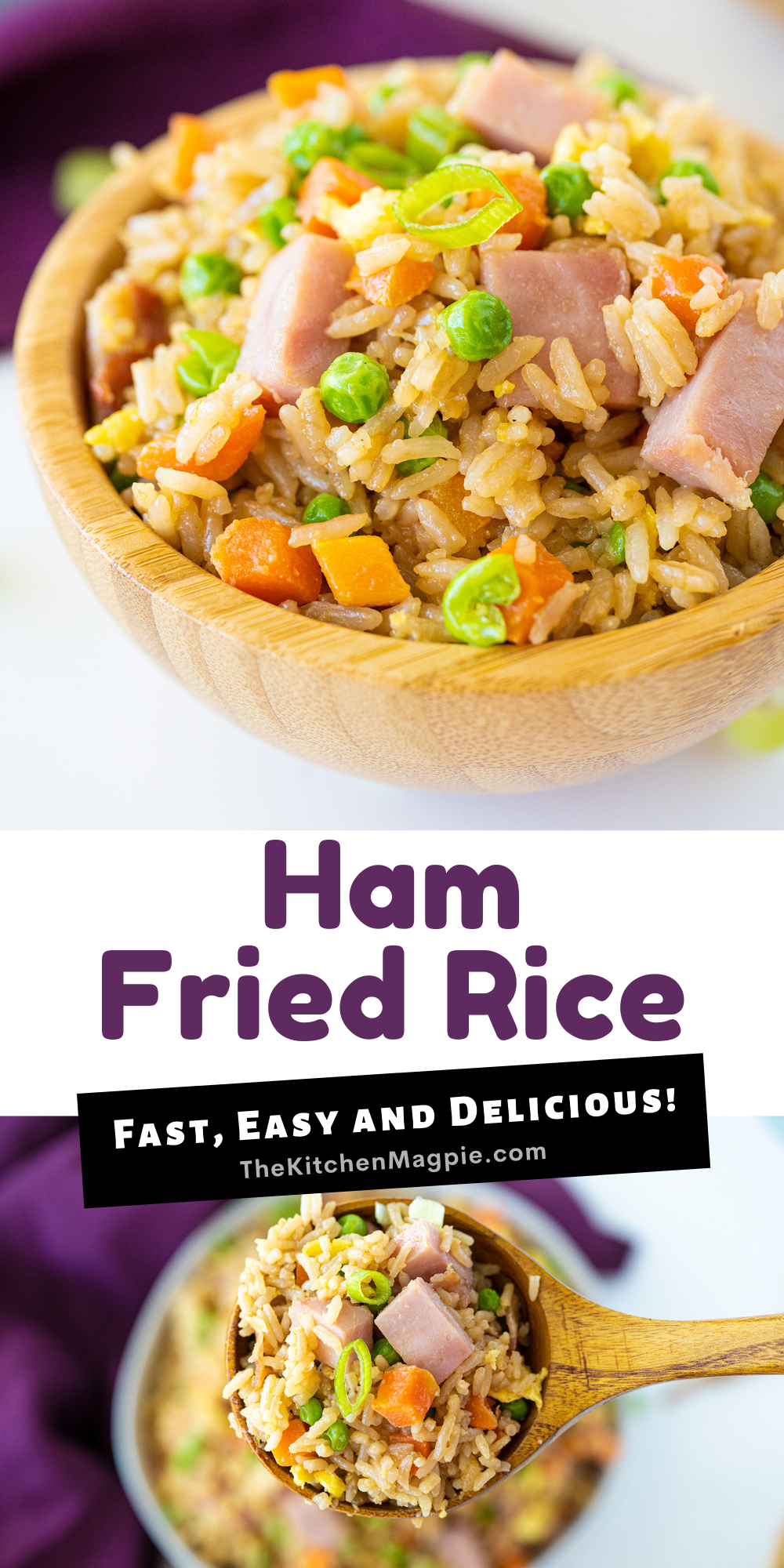 How to make fast, easy and deliciosu ham fried rice! This recipe is perfect for ham leftover and makes a great breakfast, lunch or dinner!