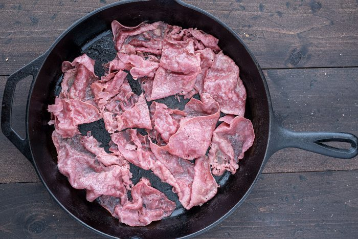 Corned Beef heating in pan