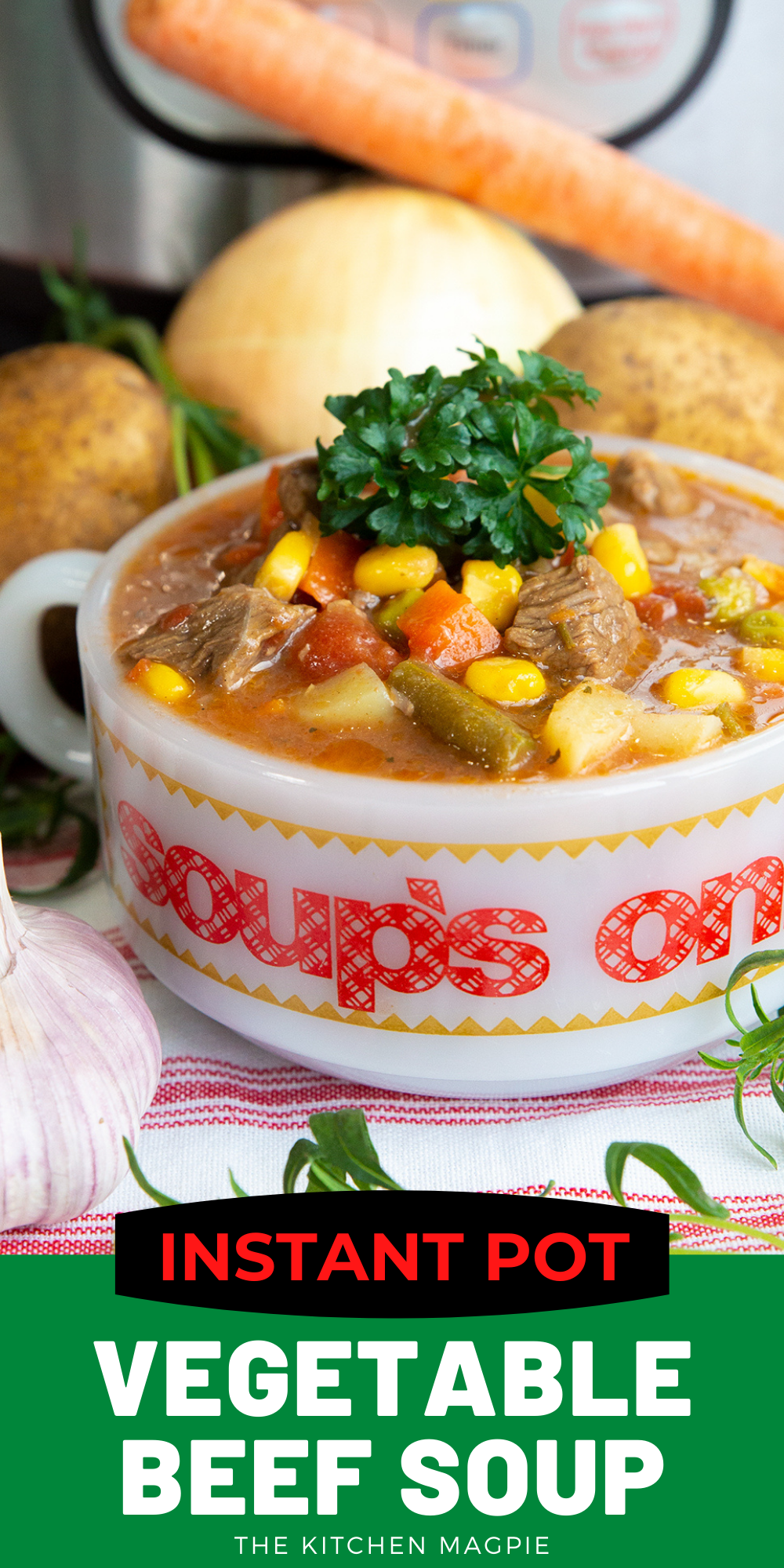 This Instant Pot vegetable beef soup is a delicious, hearty soup that is absolutely a snap to make in your pressure cooker! #instantpot #soup #beefsoup #vegetablesoup
