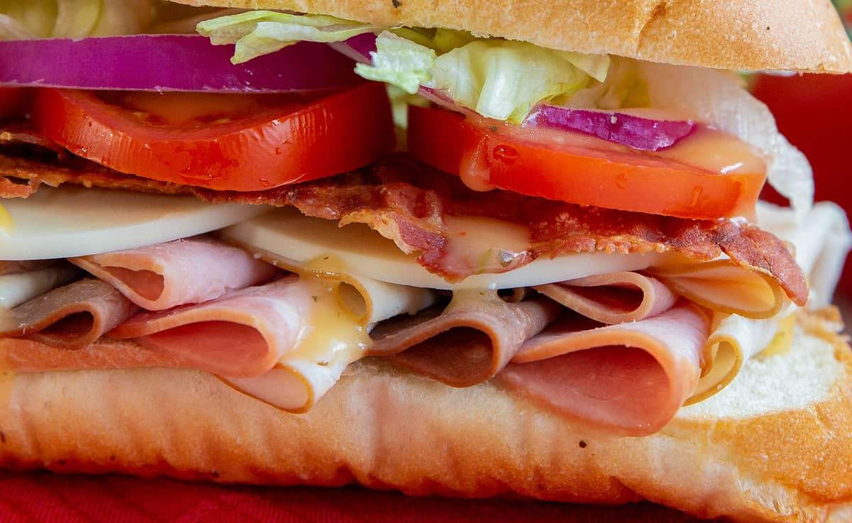 close up of layers in a submarine sandwich