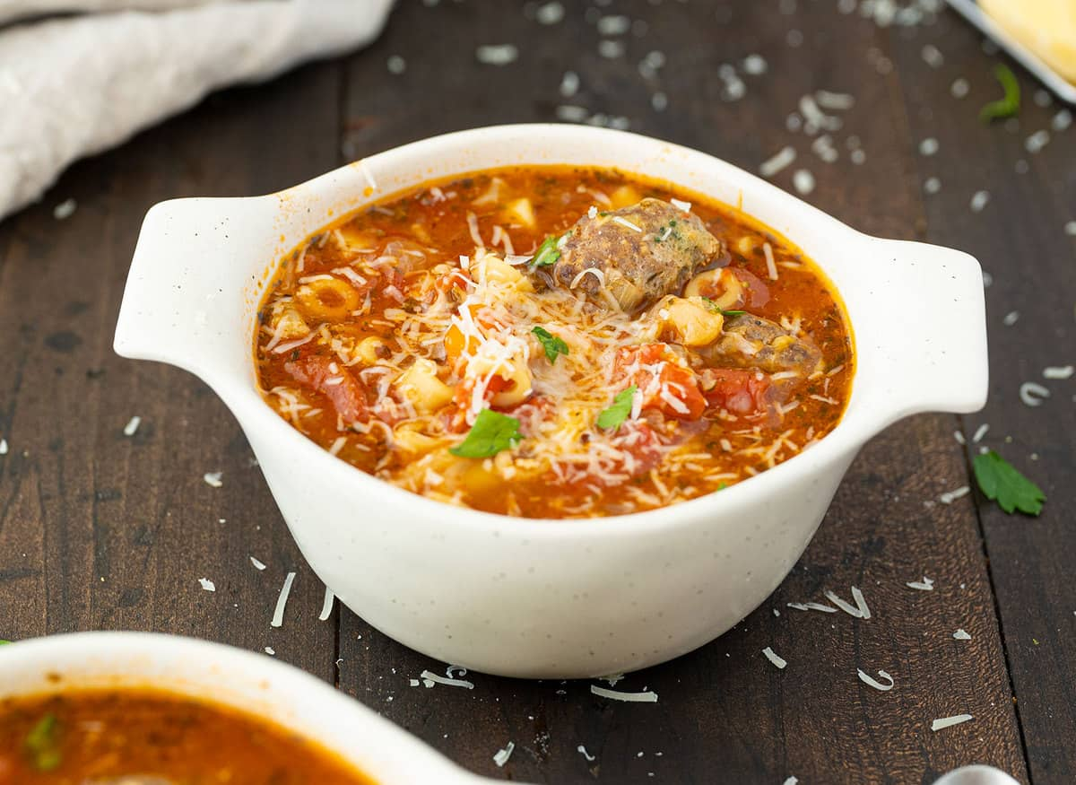 Meatball Soup in a large white bowl