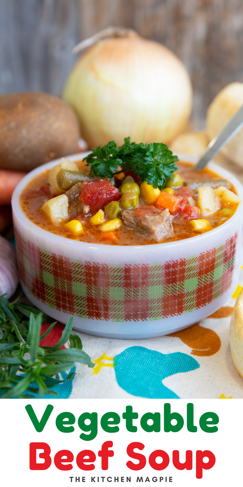 Delicious vegetable beef soup loaded with vegetables and simmered on the stovetop that makes for a hearty dinner or lunch!