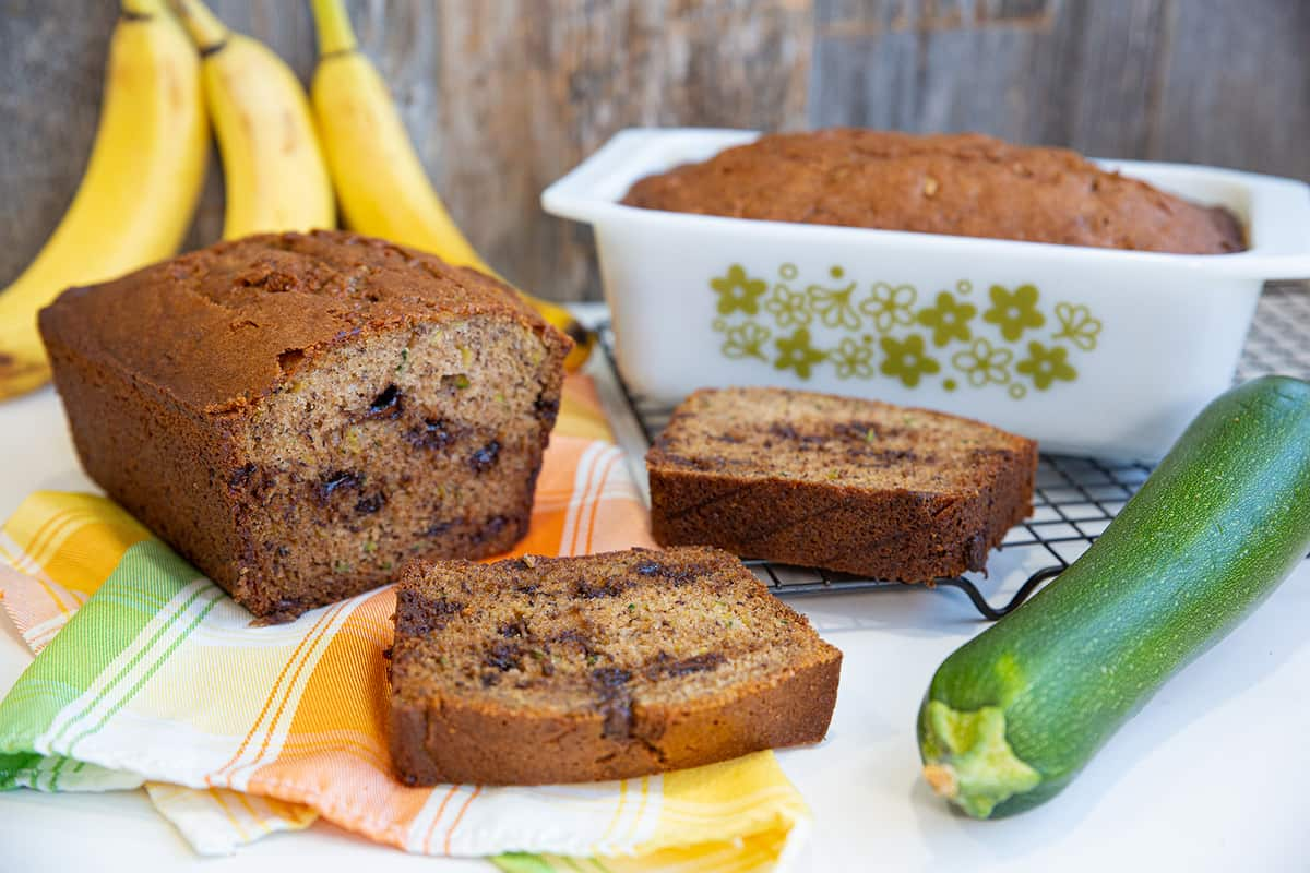 Whole and Sliced Zucchini Banana Bread