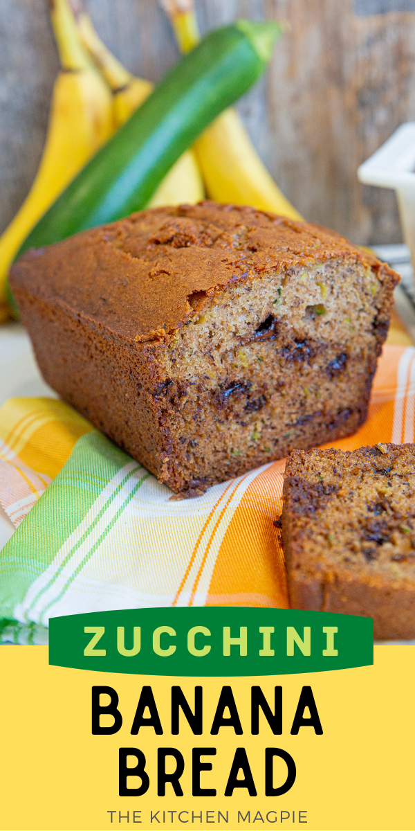 This zucchini banana bread uses up two foods we are always looking to bake into something else: bananas and zucchinis! The best of both worlds, this delicious quick bread recipe makes two loaves, one for now and one for later!