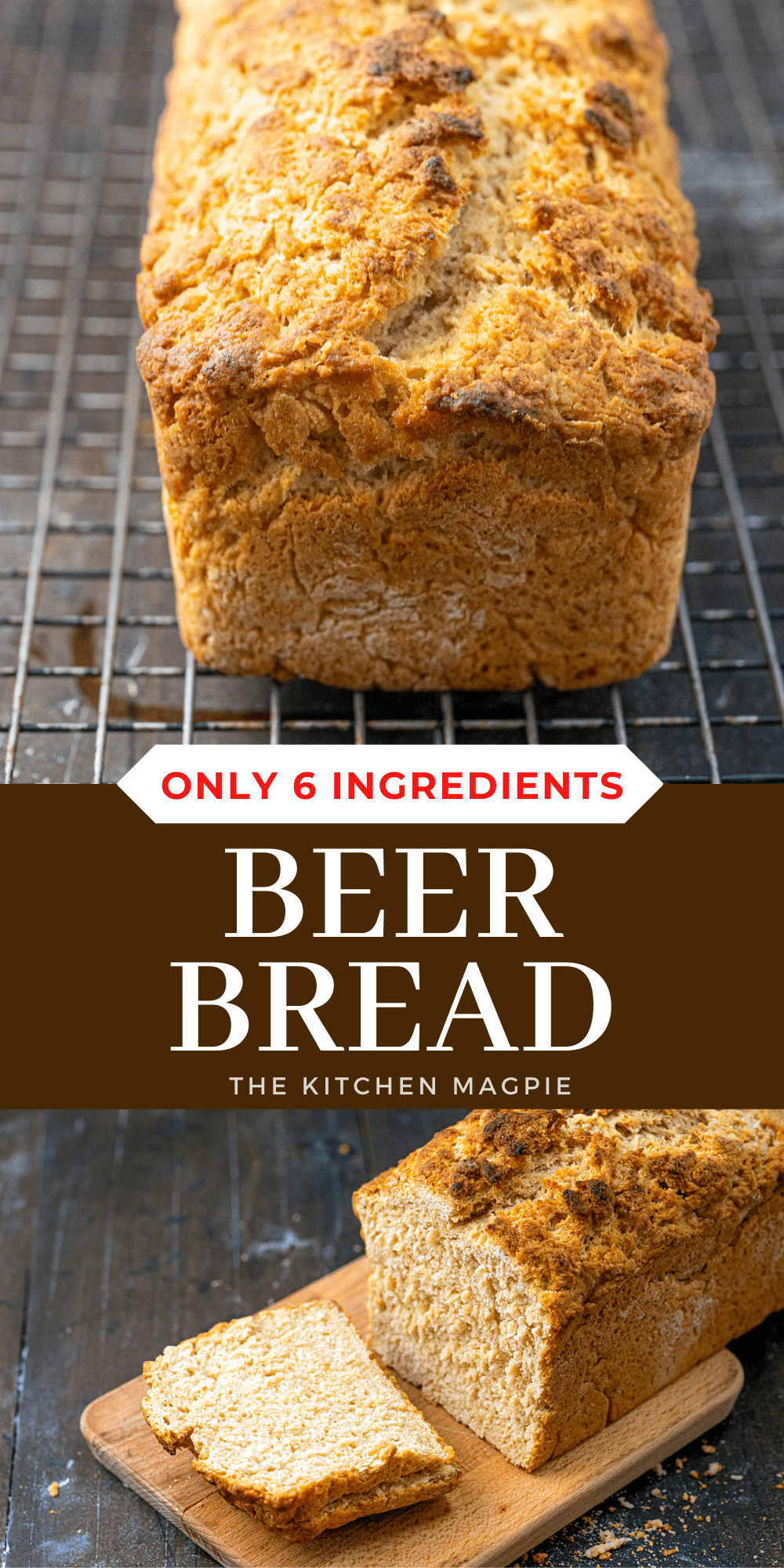 This simple beer bread uses the natural yeast in beer to make a delicious warm, dense bread that can be slathered in butter and enjoyed as the perfect side for soups and more!