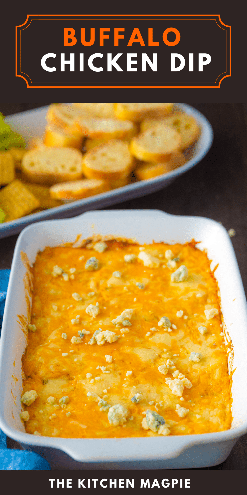 Hot, cheesy buffalo chicken dip that is sure to be a hit at your game day gathering or your holiday party!