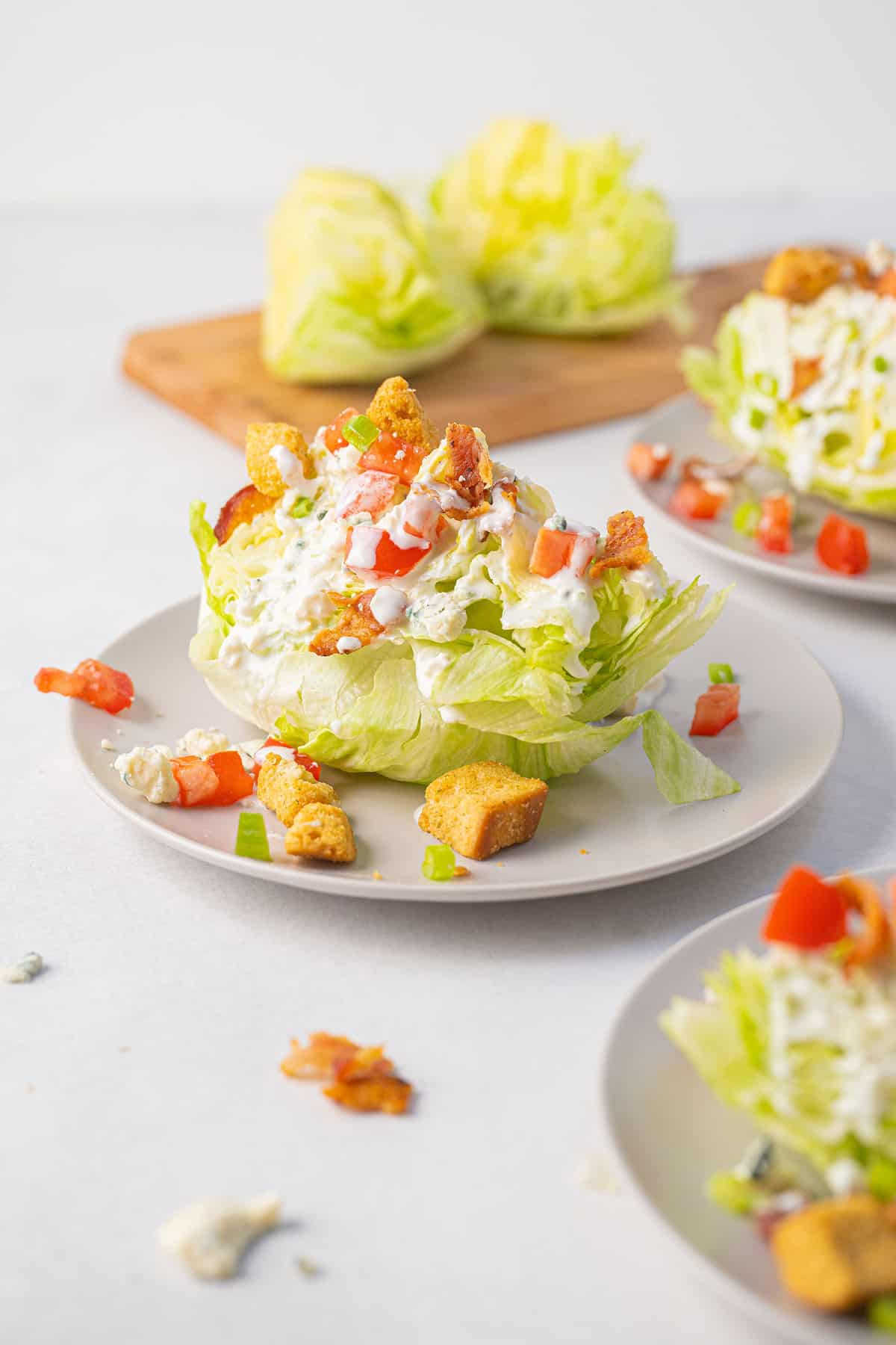 wedge salad on a white plate