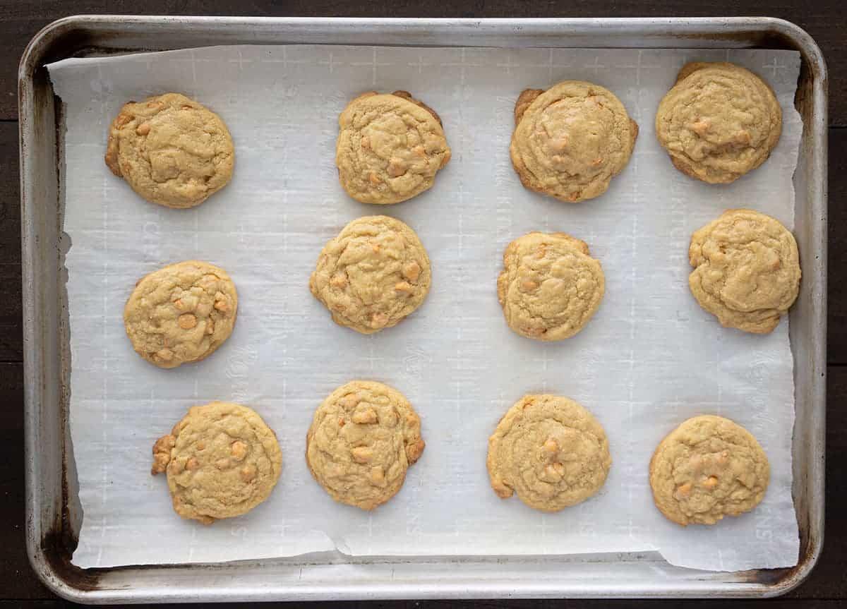 Butterscotch Cookies on a baking sheet