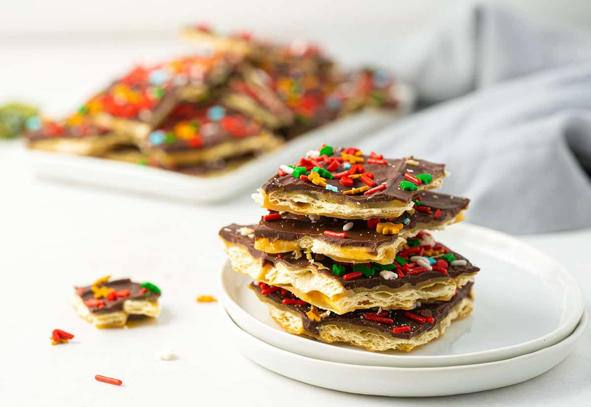 Christmas crack stacked on a plate