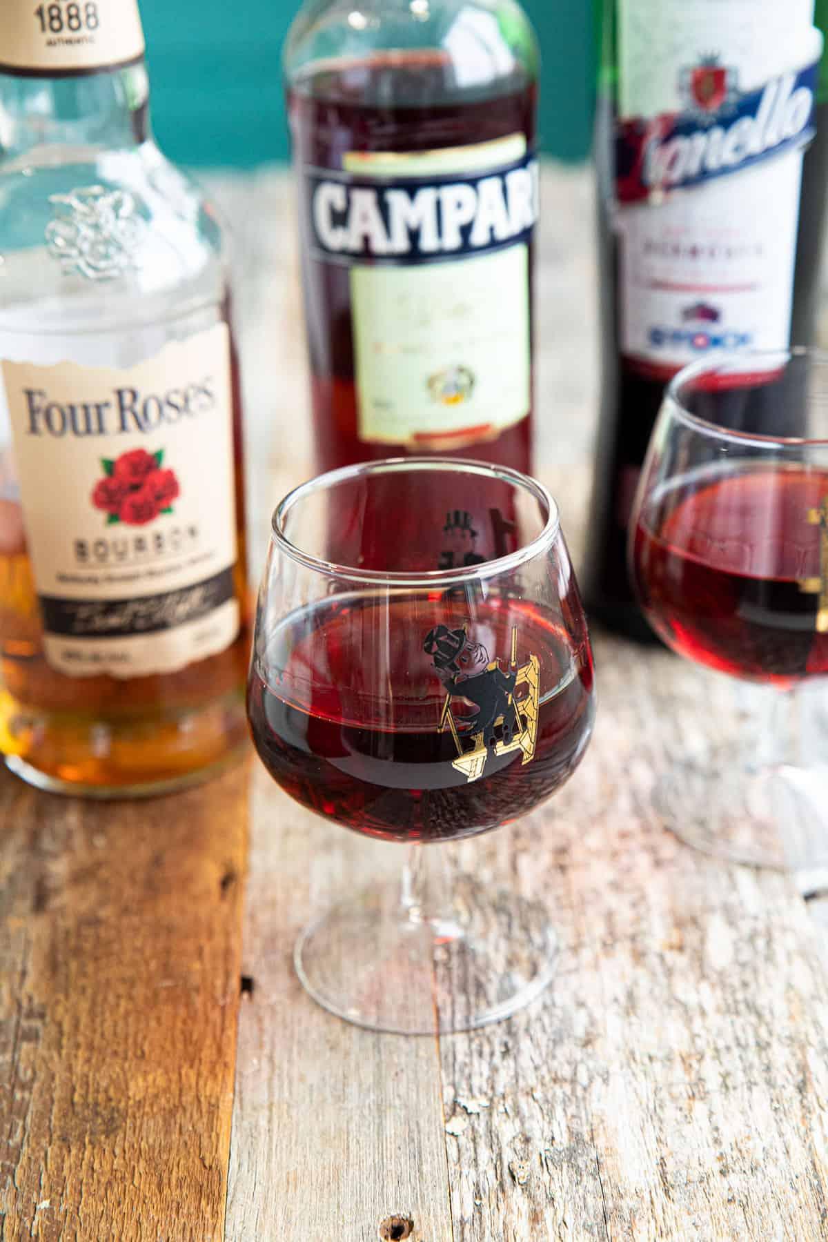Boulevardier in a brandy glass.