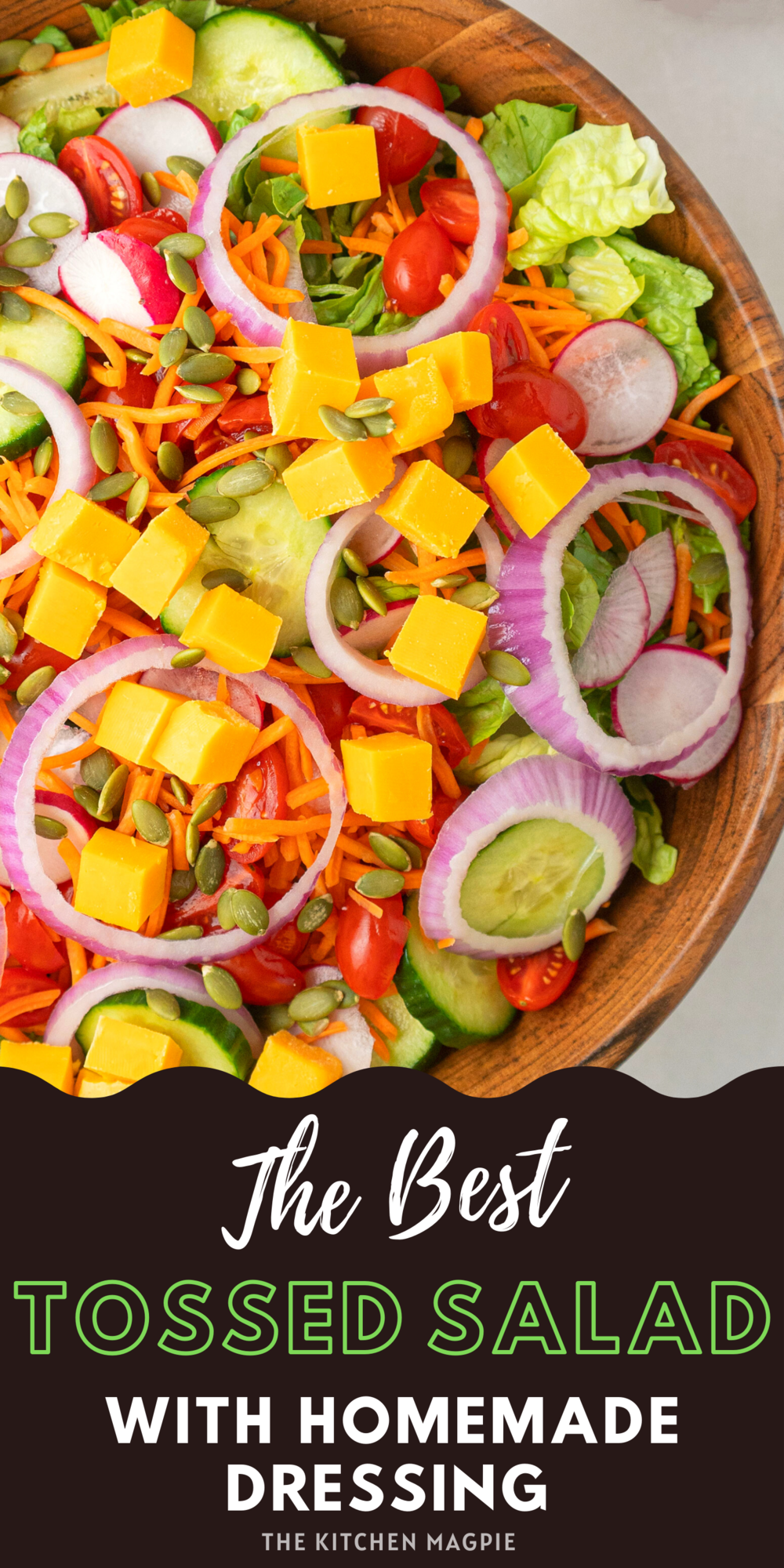 This classic tossed salad is loaded with healthy vegetables and takes mere minutes to make. Always a crowd pleaser with the cheddar cheese!