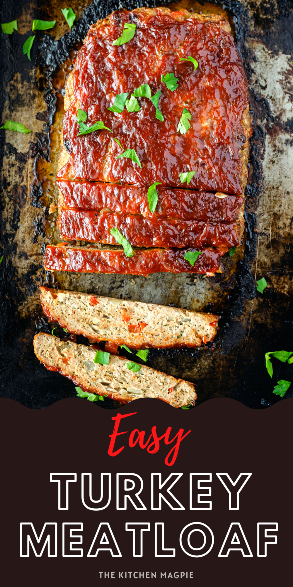 This tender, moist turkey meatloaf is bursting with flavor thanks to red peppers and onions in the meatloaf and a spiced brown sugar ketchup sauce topping it!