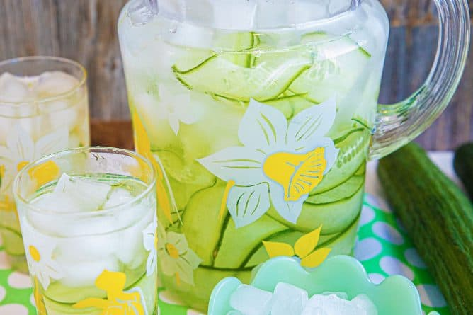 Cucumber Water in a Pitcher with Ice