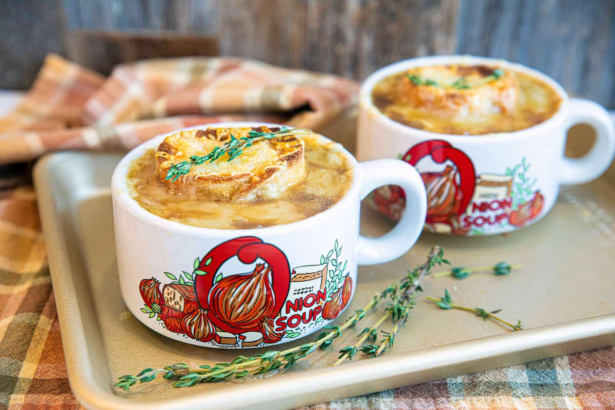 French Onion Soup in a white handled bowl