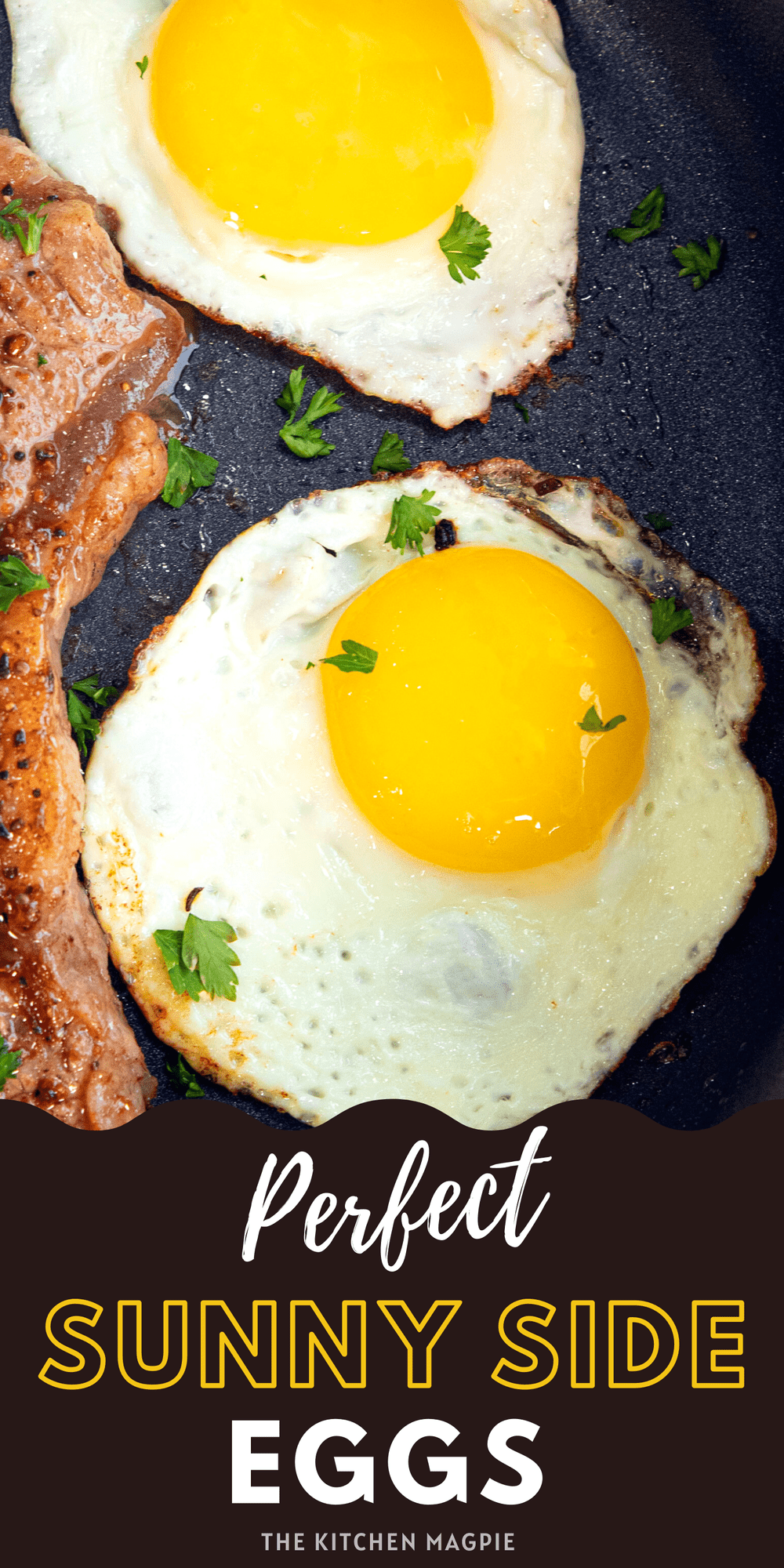 Sunny side up eggs with crispy browned bottoms are easy to make, if you know the right method! These are perfect for dipping toast into or topping your favorite dinner with!
