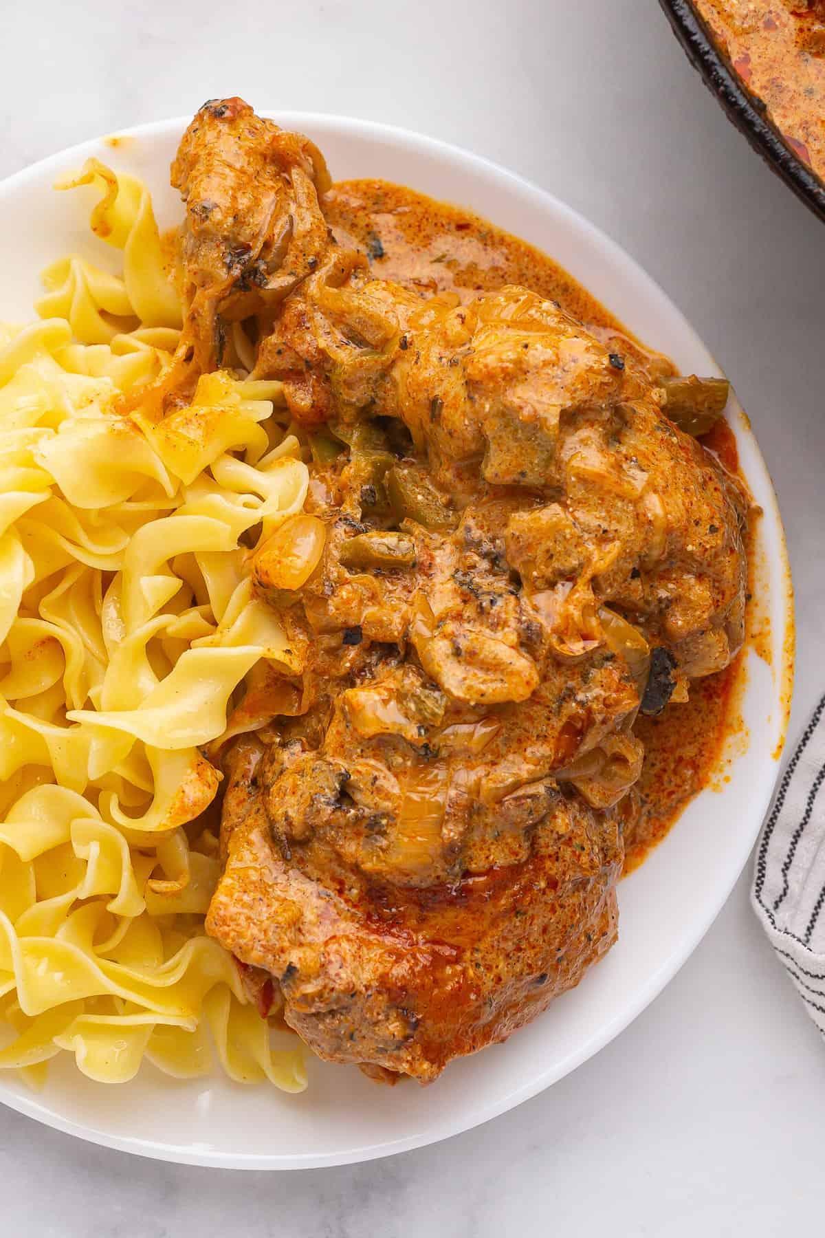 Chicken Paprikash and egg noodles