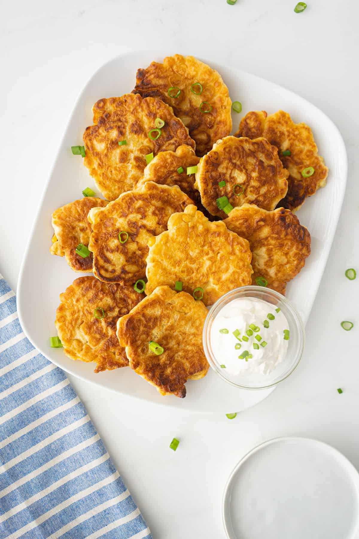 Corn Fritters on a white platter