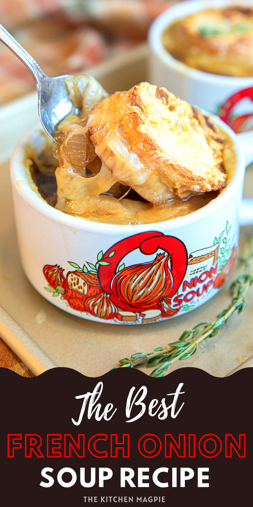 Sweet caramelized onions in a rich beef stock, all topped off with a baguette and melted cheese make this a delicious and classic treat!