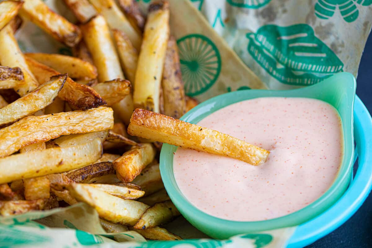 French Fry dipped in fry sauce.