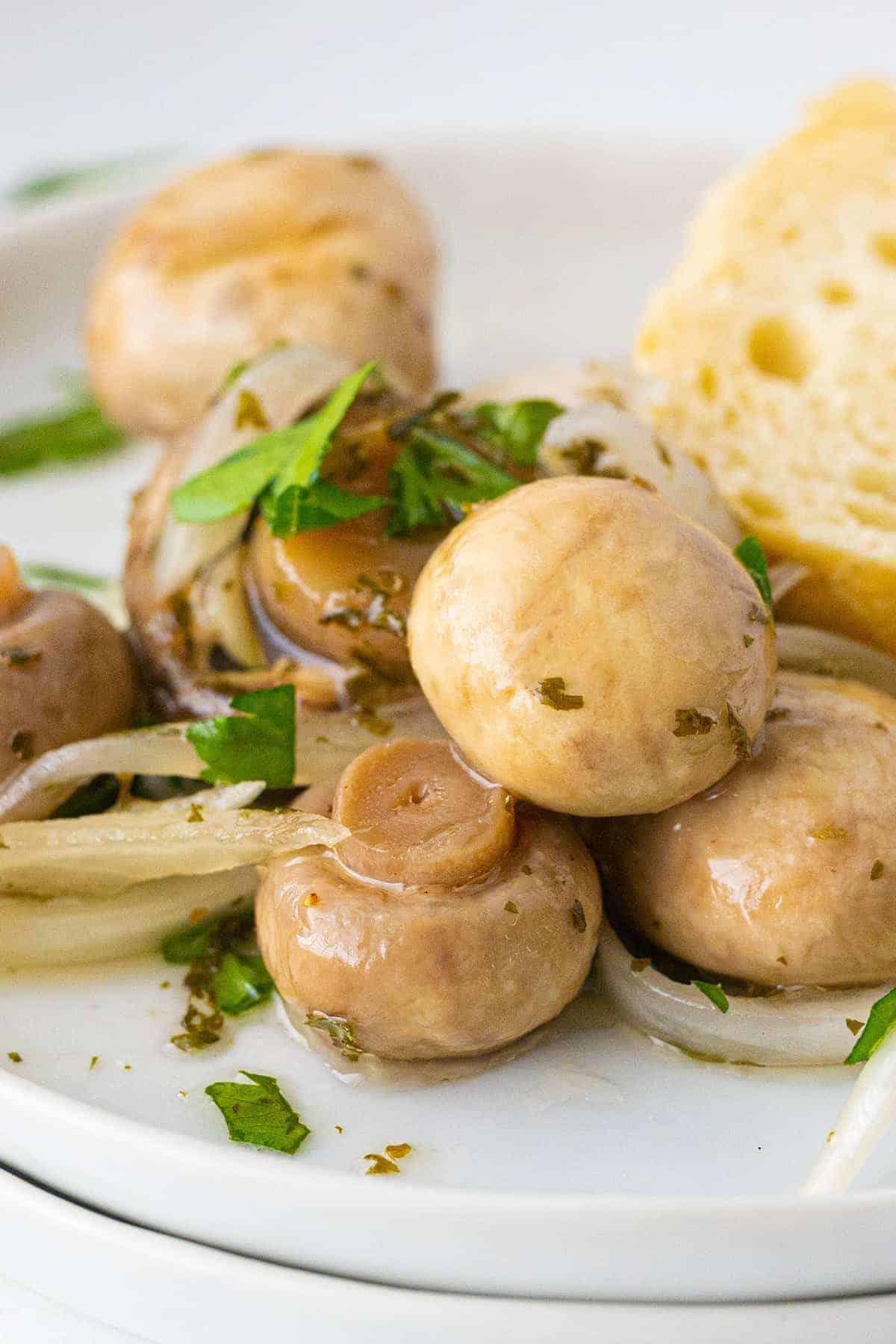 close up of Marinated Mushrooms