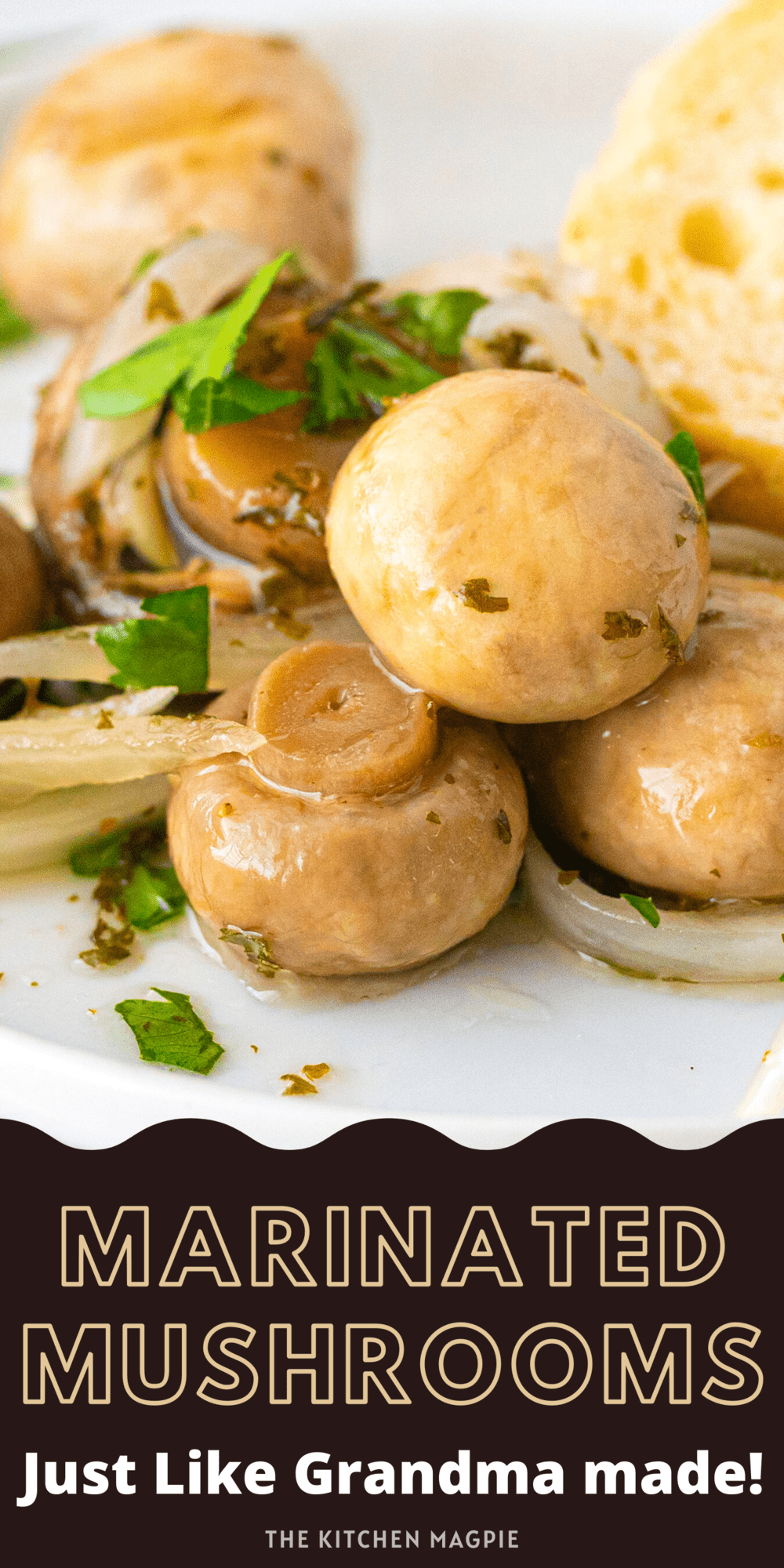 Marinated mushrooms have always been a hit as an appetizer! This recipe uses fresh mushrooms but if you want to go full retro, used drained canned mushrooms, just like Grandma did!