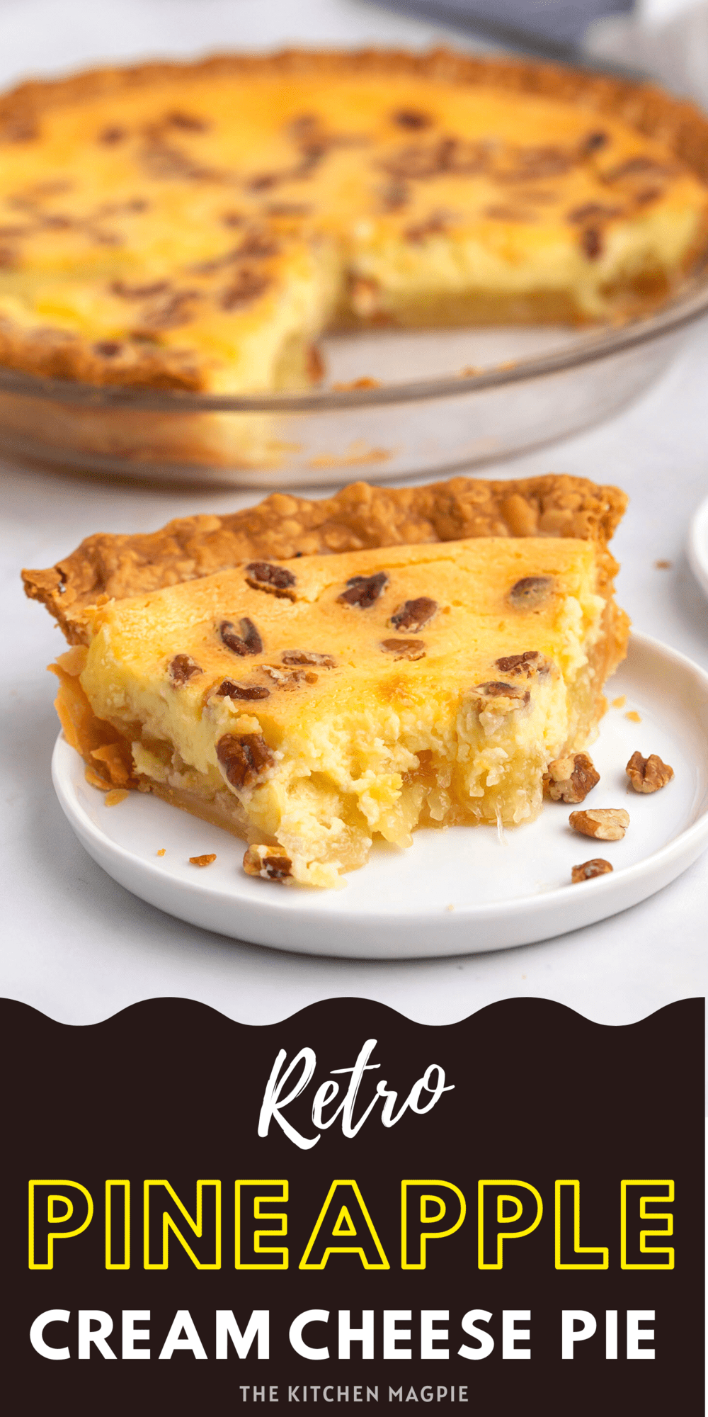 Delectable pineapple pie made with a sweet cream cheese layer, then baked in a pie shell and topped with crispy pecans.