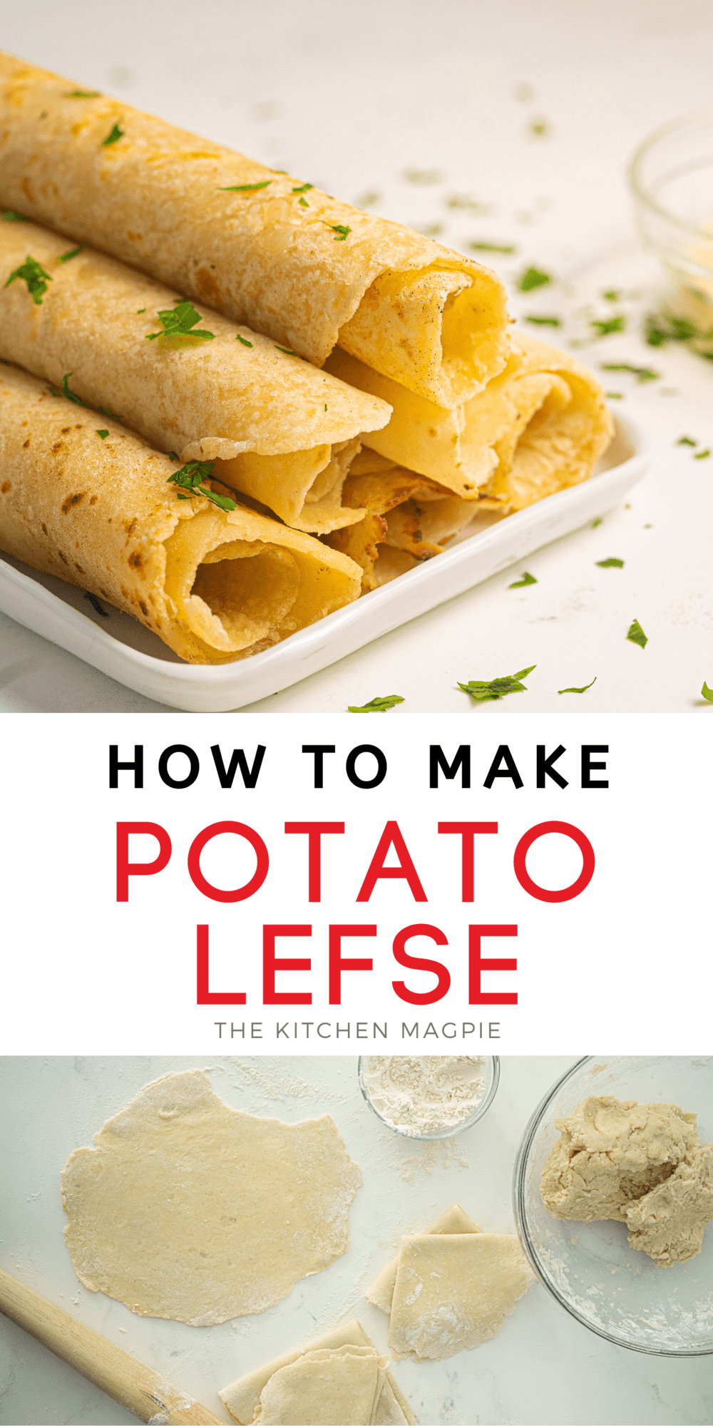 How to make potato lefse, a Norwegian flatbread recipe that is similar to a crepe but uses up mashed potatoes! Have them with butter or jam if desired.