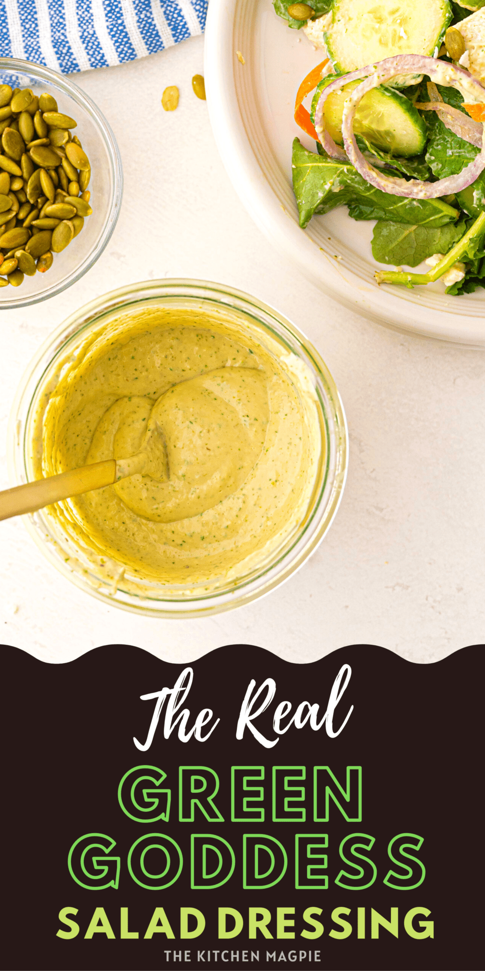 How to make the real Green Goddess dressing, the San Francisco version that has anchovy paste, chives, parsley, tarragon and more!
