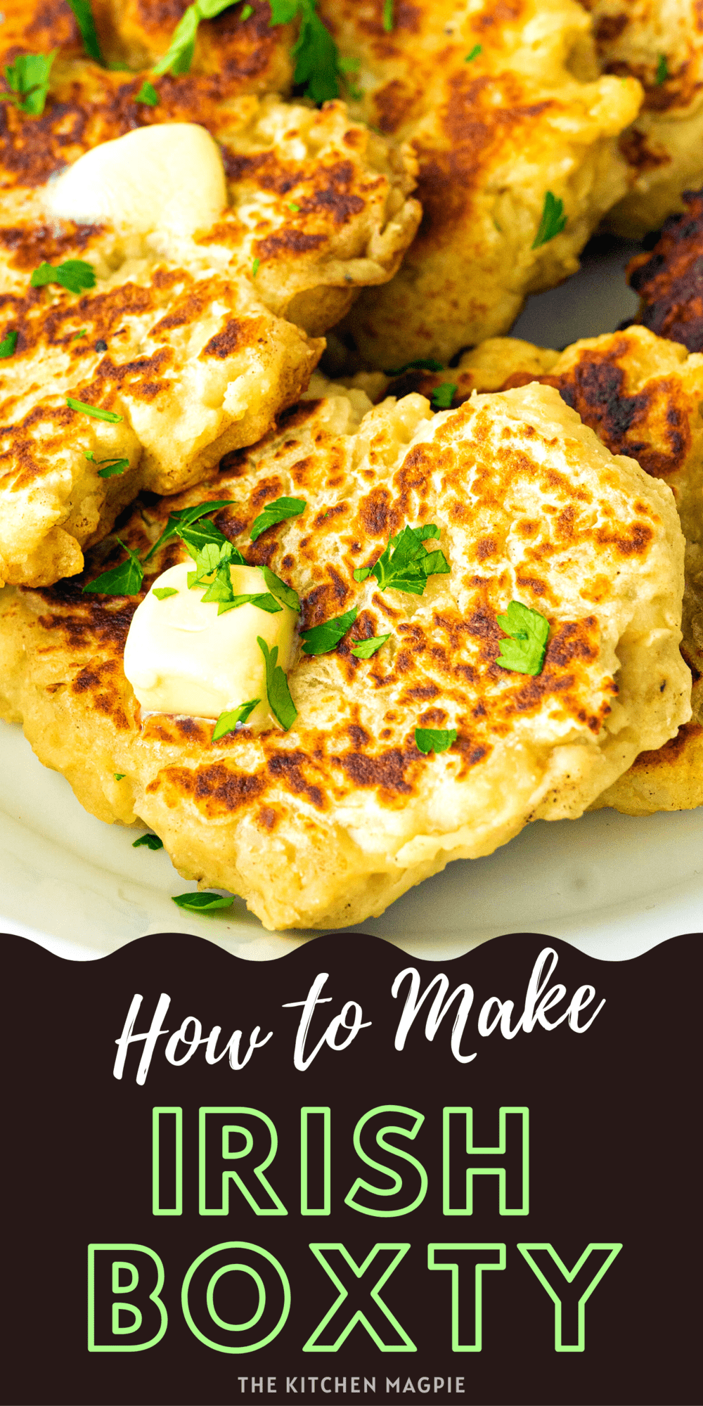 This delicious Irish boxty recipe is potato pancakes (or crepes) using leftover mashed potatoes & grated potatoes in a batter & then fried up!