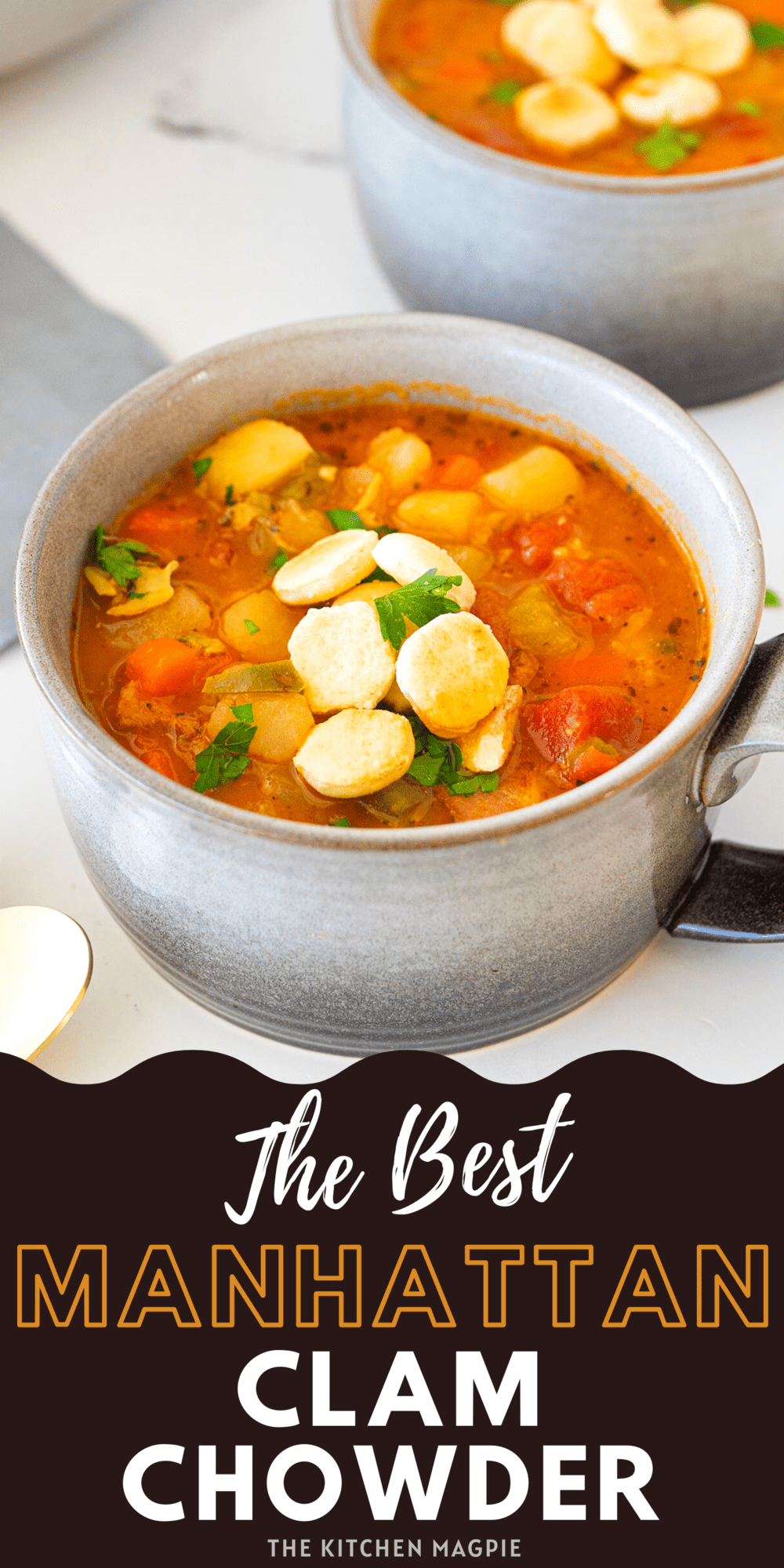 Manhattan Clam Chowder is a delicious tomato-based clam chowder loaded with clams and vegetables, and served with oyster crackers on top!