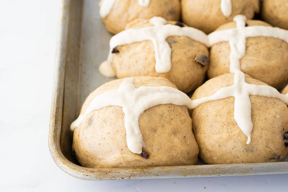 unbaked Hot Cross Buns with flour cross