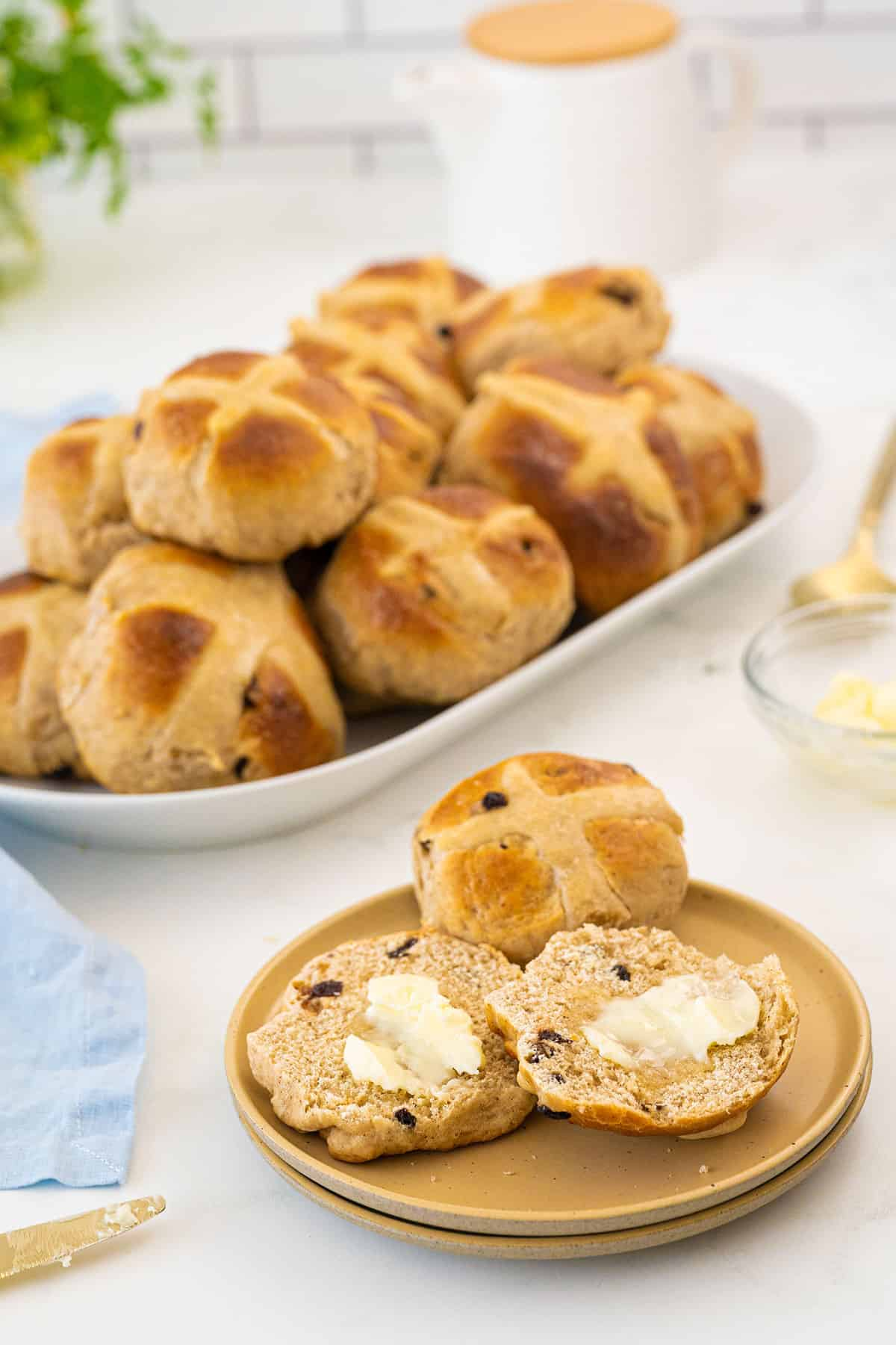 Hot Cross Buns on a plate
