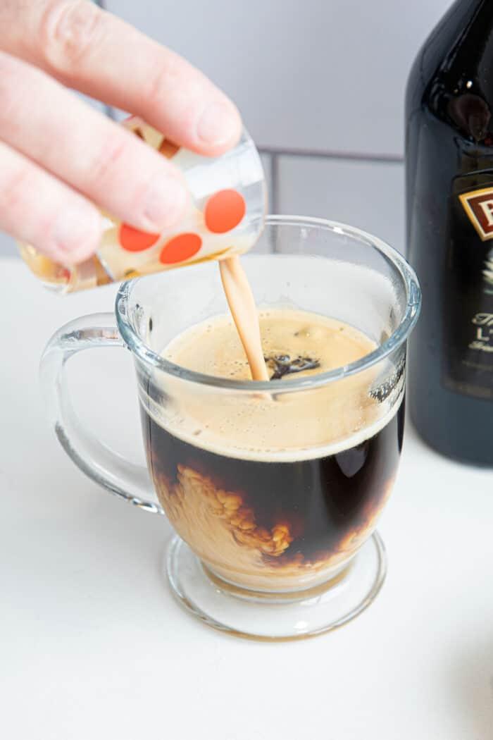 Add the Irish cream to the coffee