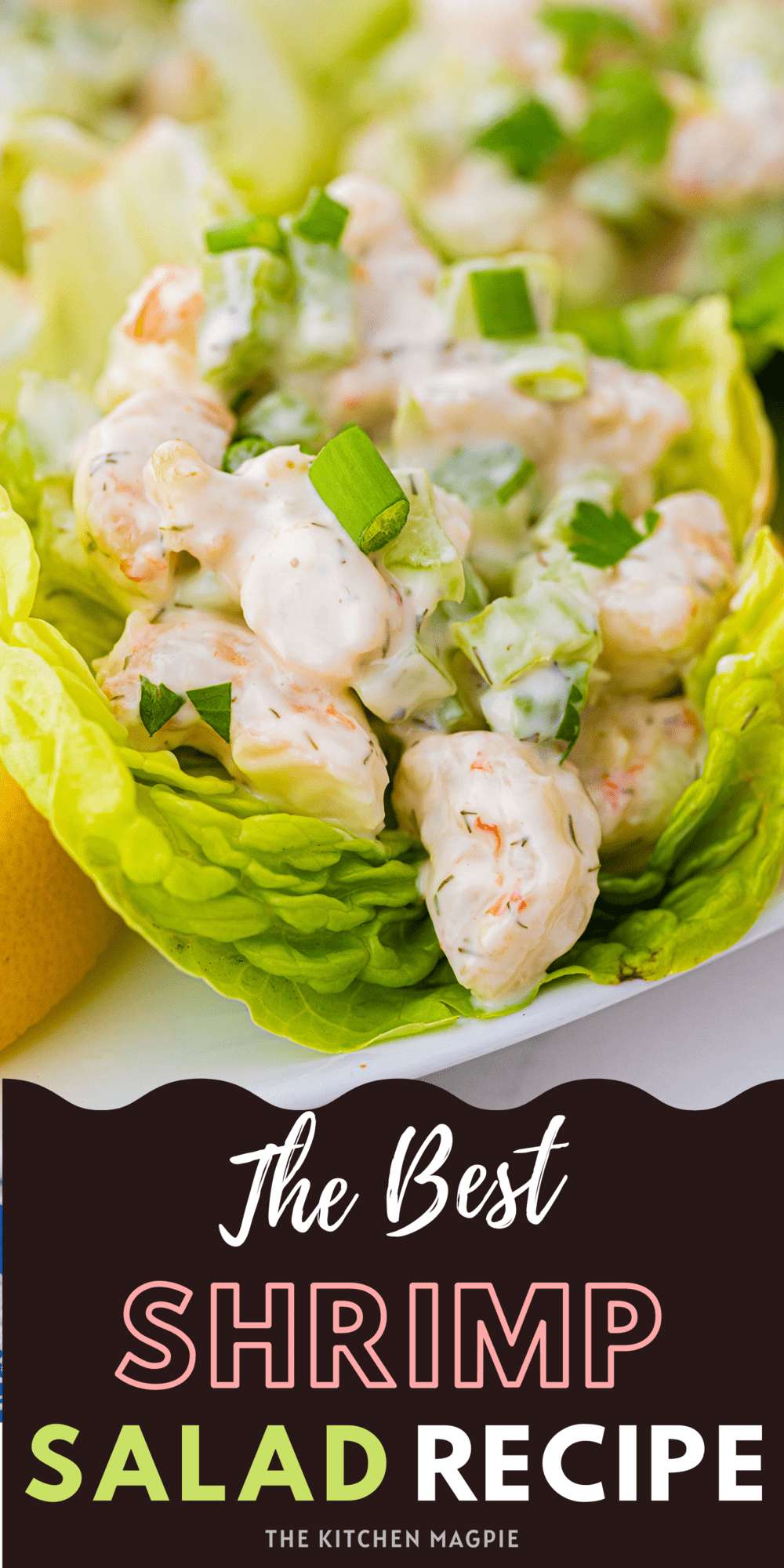 This light and easy shrimp salad recipe is the perfect way to use up shrimp! Eat in lettuce cups, on crackers, or on top of a green salad.