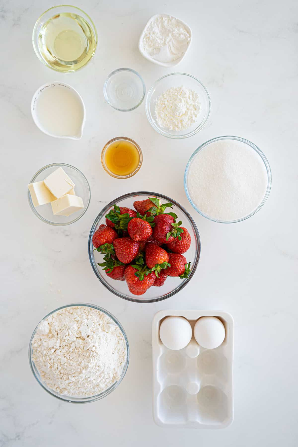 ingredients for strawberry muffins