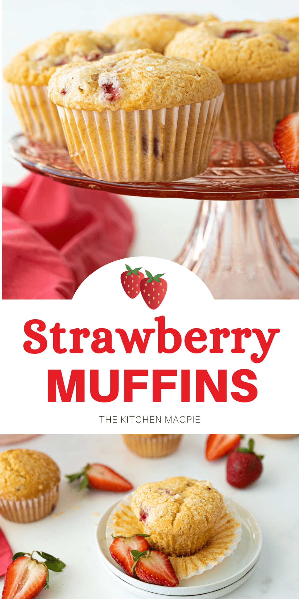 These easy and delicious strawberry muffins are a fantastic way to use up strawberries and make a great breakfast or snack!