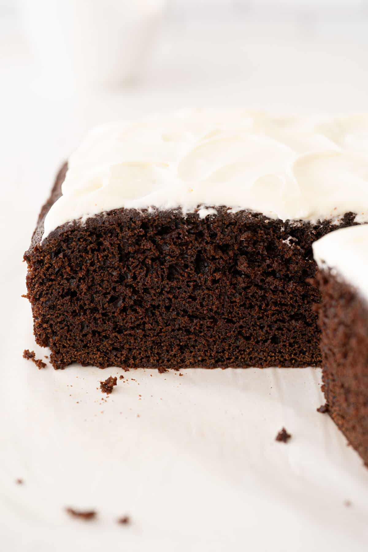 large slice of chocolate cake with buttercream frosting