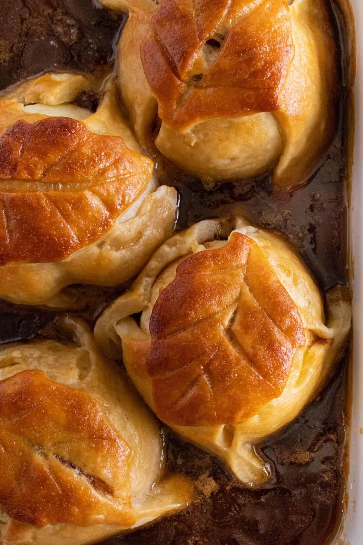 baked apple dumplings in brown sugar syrup