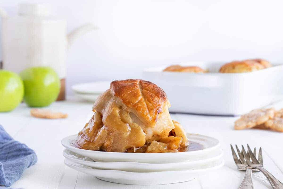 apple dumplings on a white plate