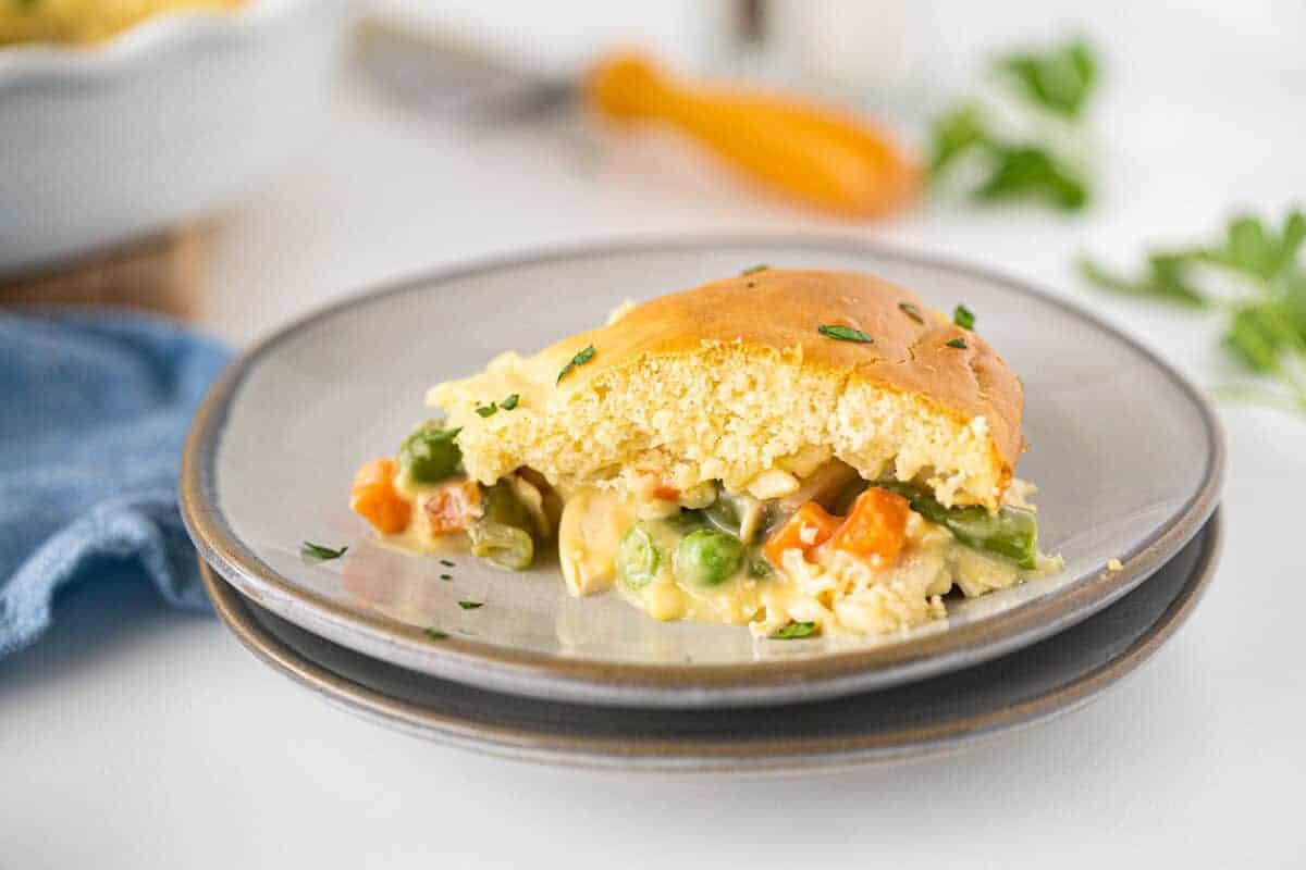 Bisquick™ Chicken Pot Pie on a grey plate