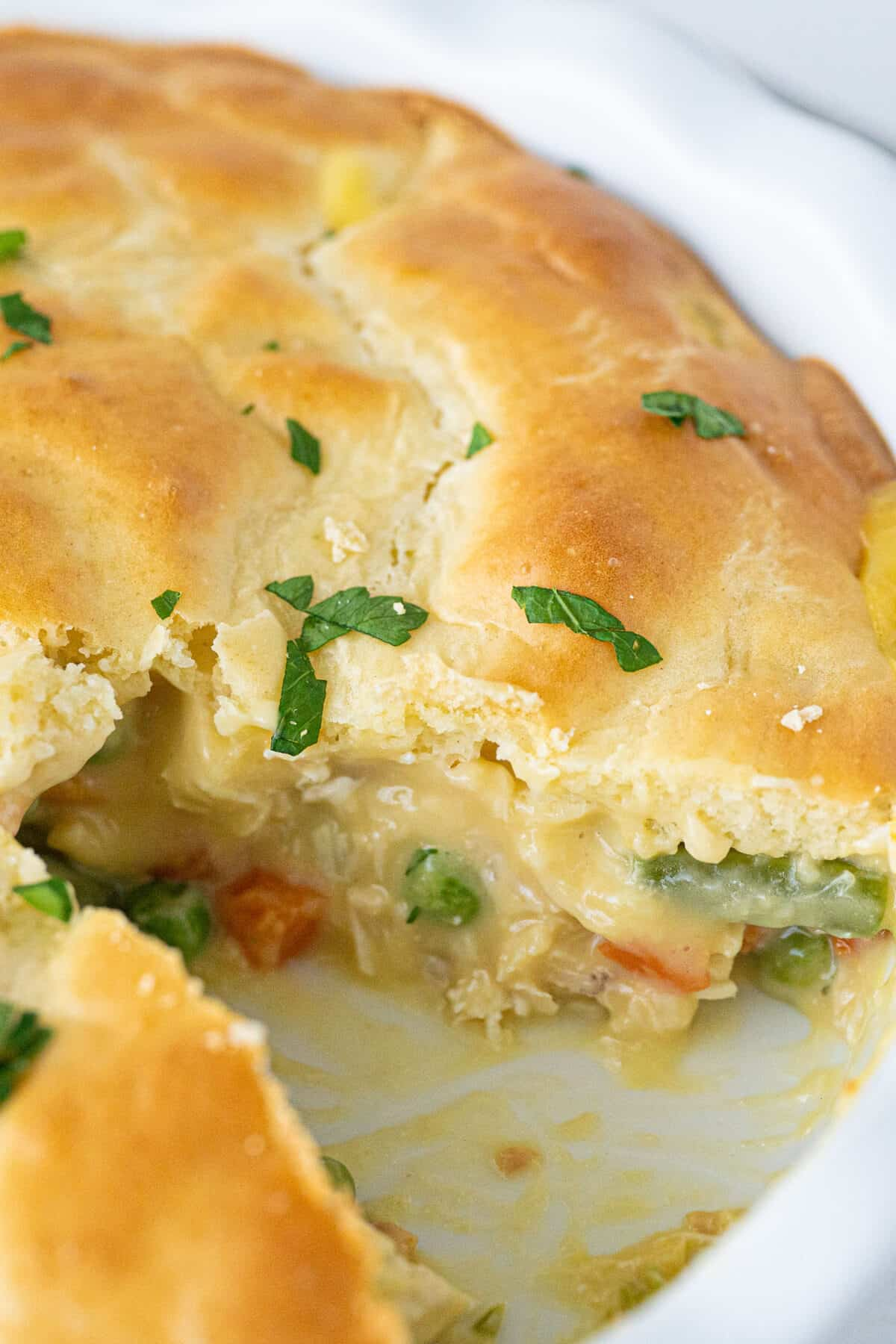 side shot of the filling in a Bisquick™ Chicken Pot Pie