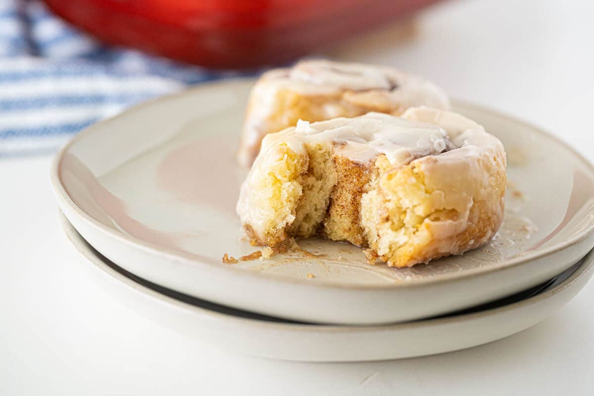 bisquick cinnamon roll on a plate
