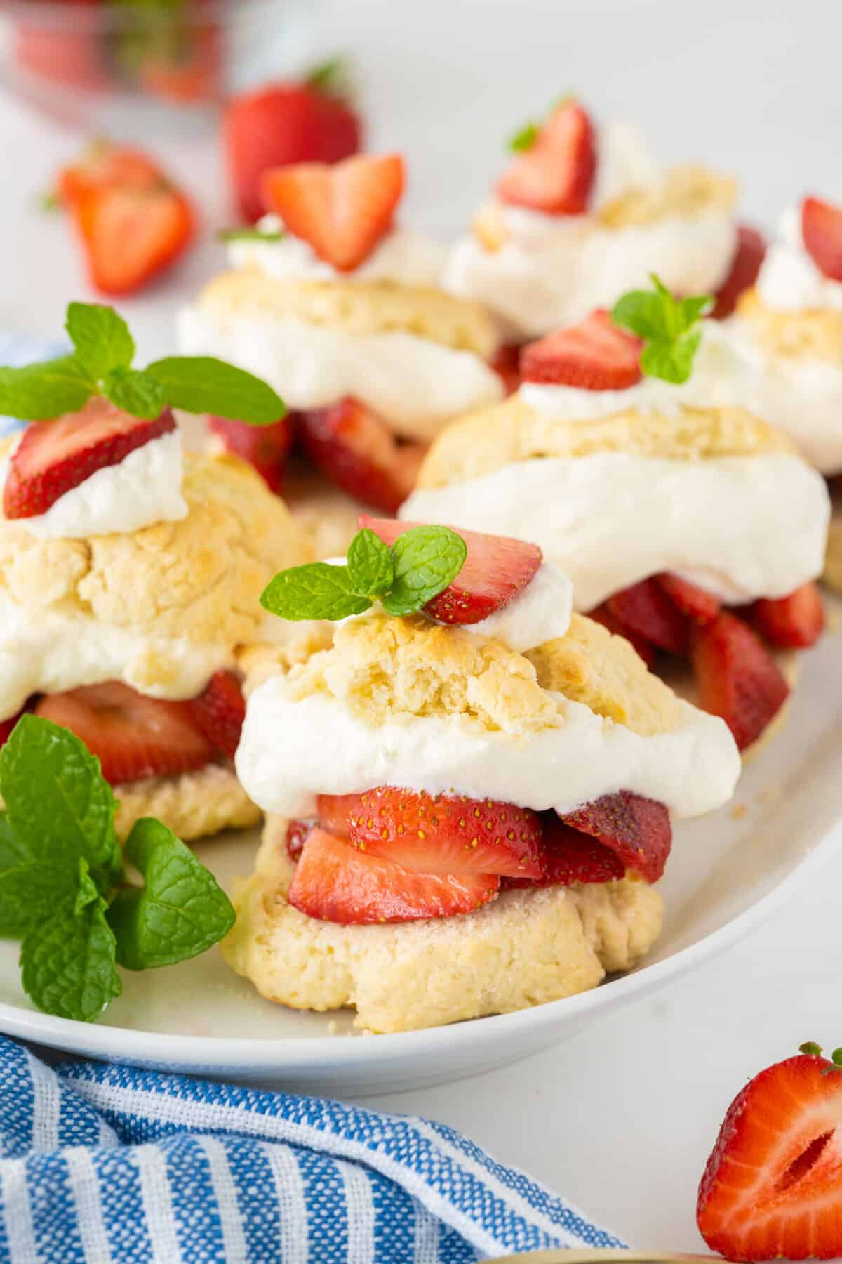 close up of Bisquick strawberry shortcake on a white plate