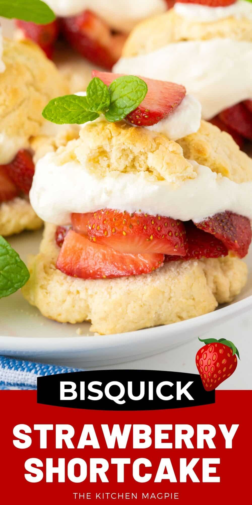 This easy and delicious classic Bisquick™ Strawberry Shortcake is a great way to enjoy fresh strawberries and whipped cream in a light dessert that takes barely any time to make!