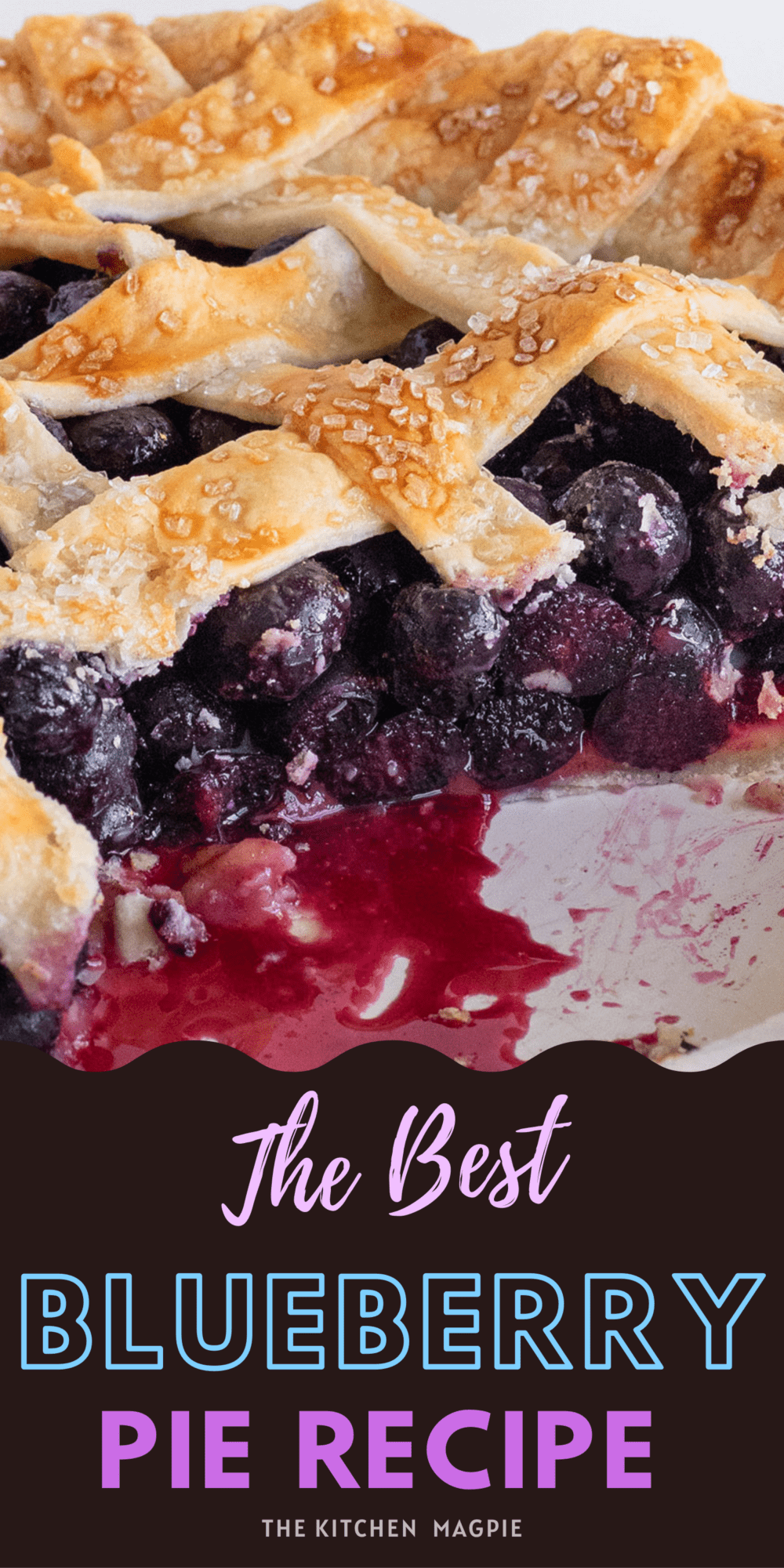 Fresh blueberries are baked into a lattice topped blueberry pie and served with vanilla ice cream for the perfect dessert!