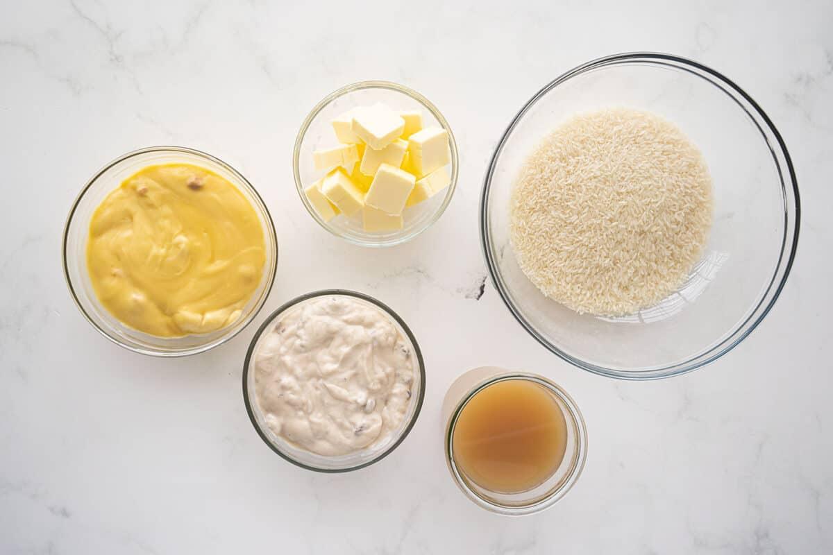 Buttery Mushroom Rice Ingredients