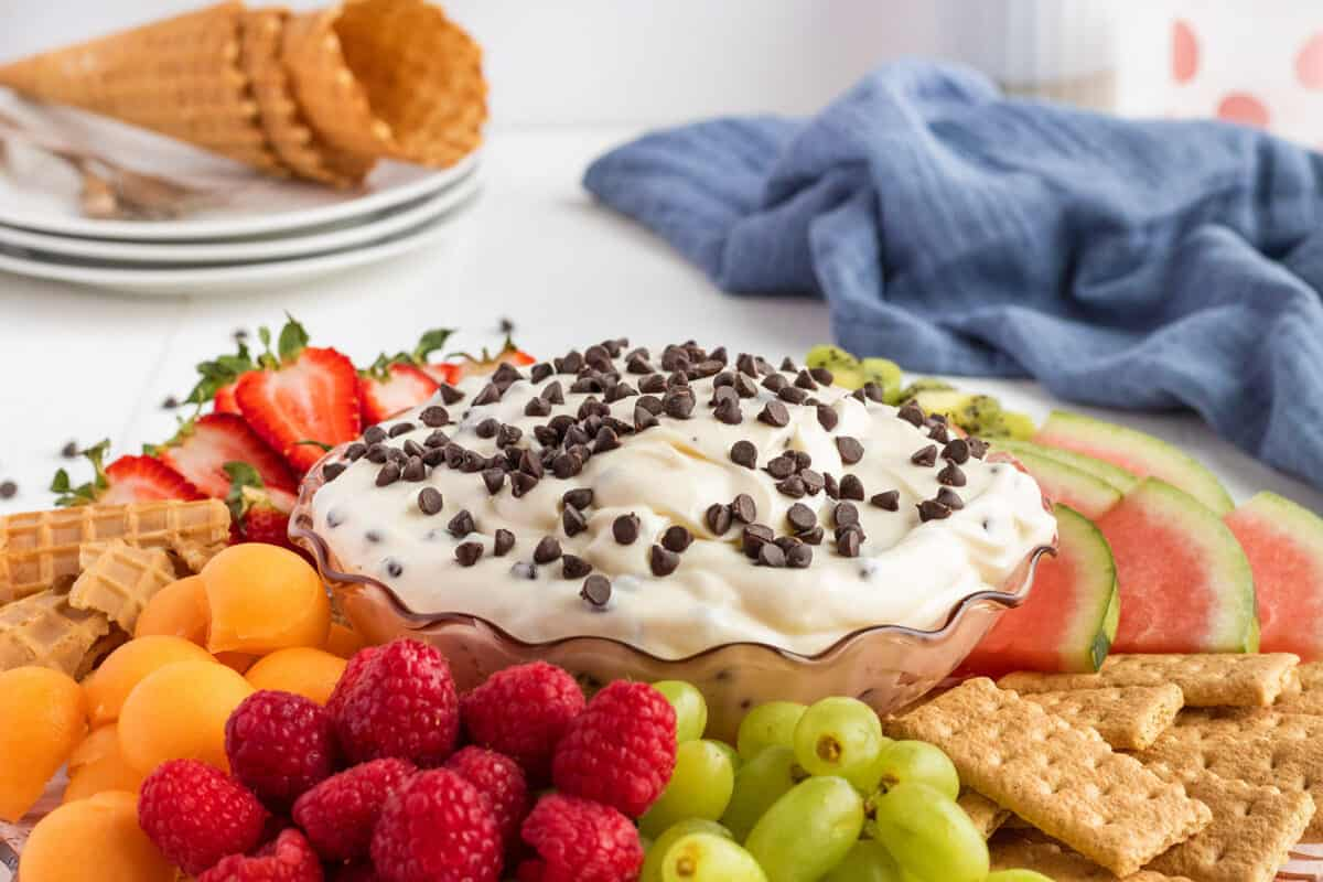 cannoli dip on a platter with fruit