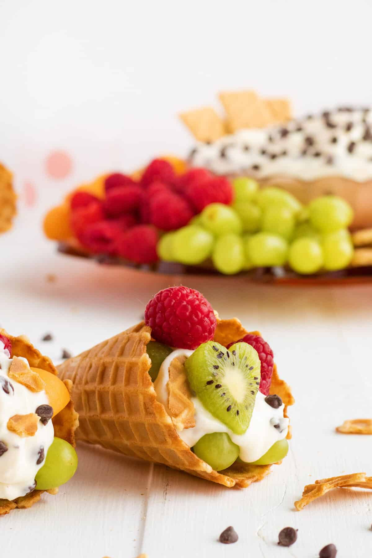waffle cone filled with cannoli dip and fruit